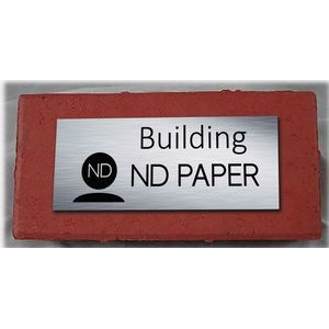 "1.4"" x 2.9"" - Red Clay Bricks with Silver Plate - Color Printed - USA-Made"